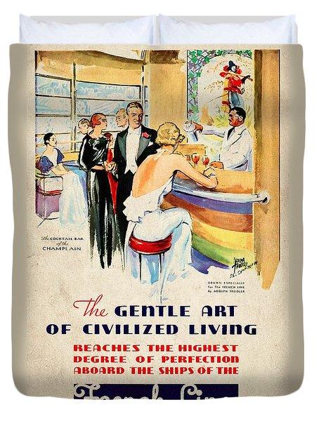 French Line - Bits Of France Afloat - Vintage Poster Vintagelized Duvet Cover