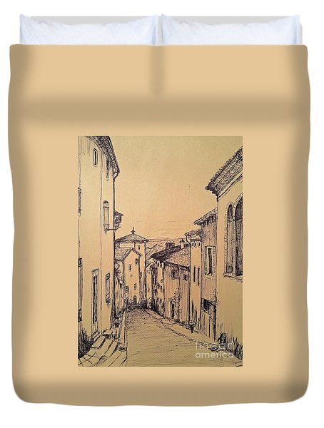 French Little Town Drawing Duvet Cover