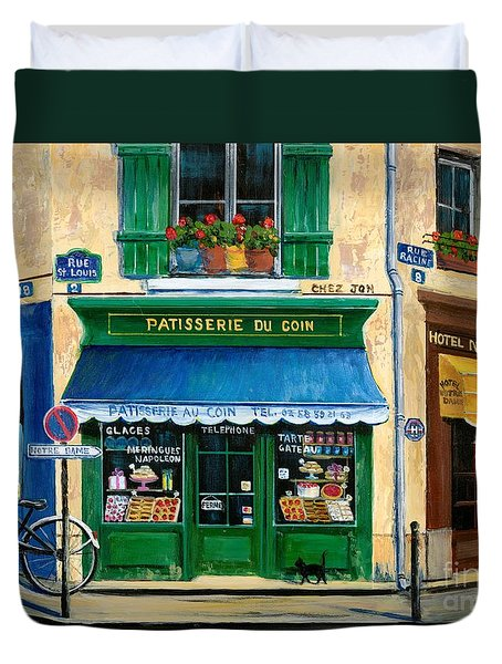 French Pastry Shop Duvet Cover by Marilyn Dunlap