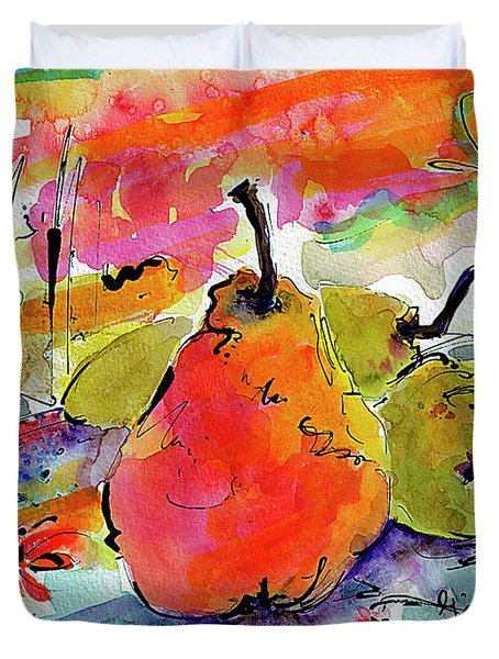 French Pears Watercolor And Ink Whimsical Art Duvet Cover