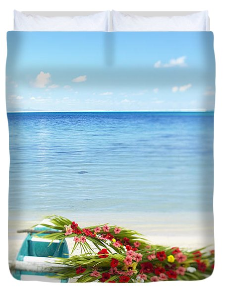 French Polynesia, Huahine Duvet Cover by Kyle Rothenborg - Printscapes