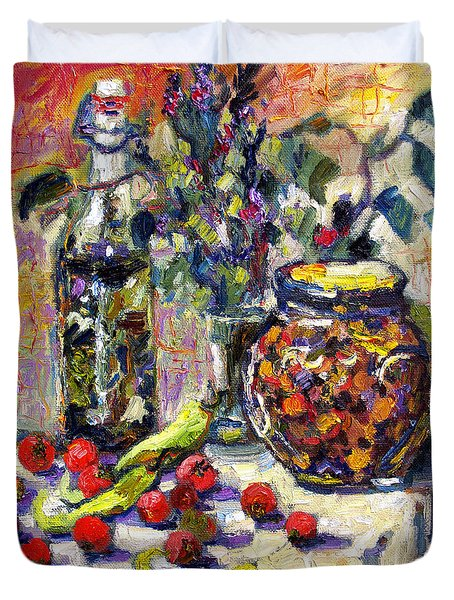 Duvet Cover featuring the painting French Provence Cooking Still Life by Ginette Callaway