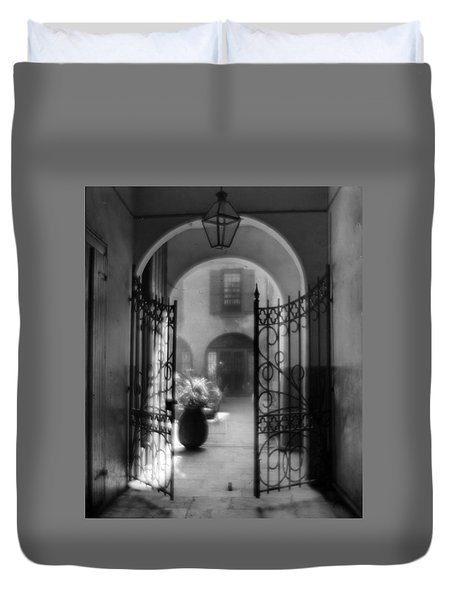 French Quarter Courtyard Duvet Cover
