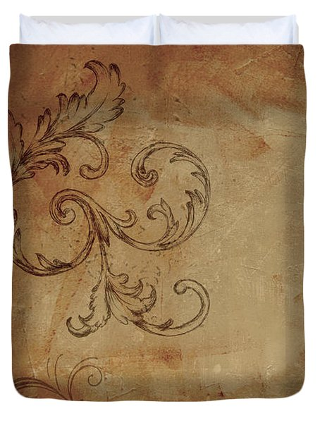 Duvet Cover featuring the painting French Scrolls by Jocelyn Friis