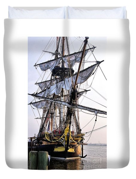 Duvet Cover featuring the photograph French Tall Ship Hermione  by John S