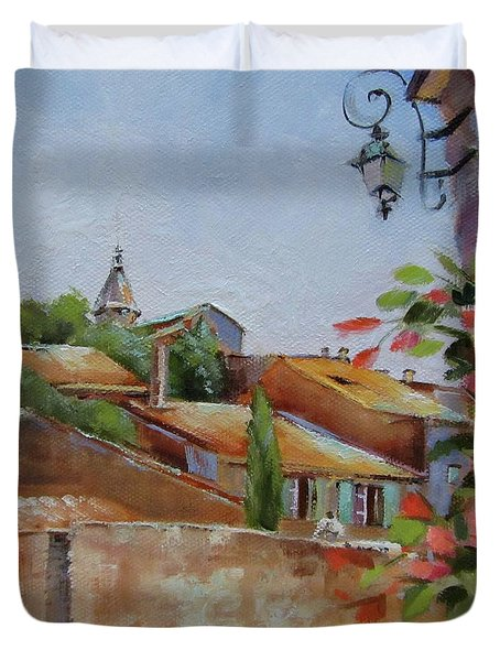 Duvet Cover featuring the painting French Village by Chris Hobel