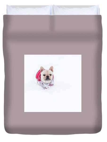 Frenchie In The Snow Duvet Cover