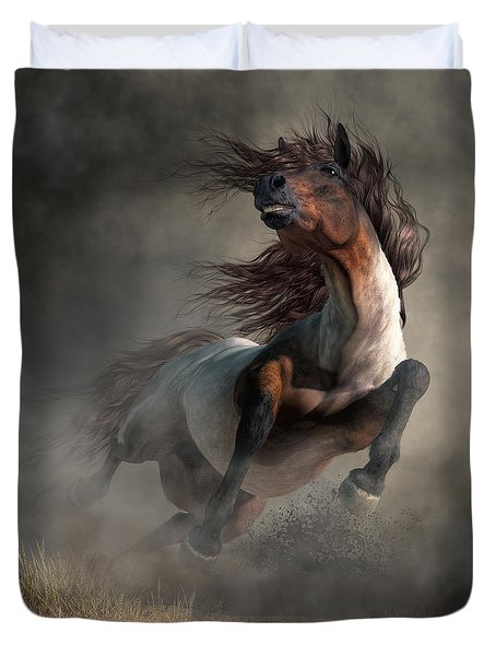 Duvet Cover featuring the digital art Frenzy by Daniel Eskridge