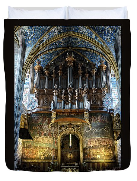 Fresco Of The Last Judgement And Organ In Albi Cathedral Duvet Cover by RicardMN Photography