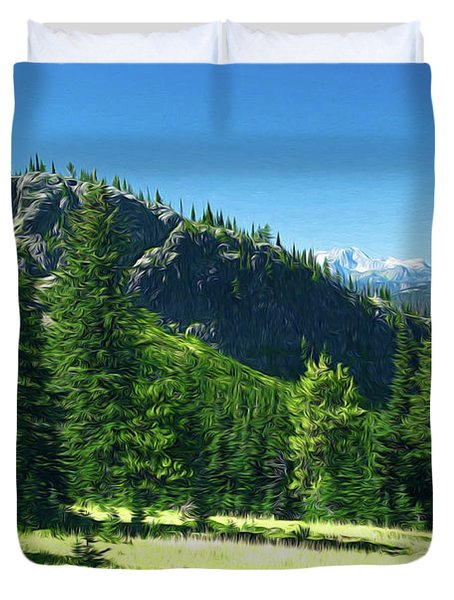 Duvet Cover featuring the photograph Fresh Air In The Mountains Photo Art by Sharon Talson