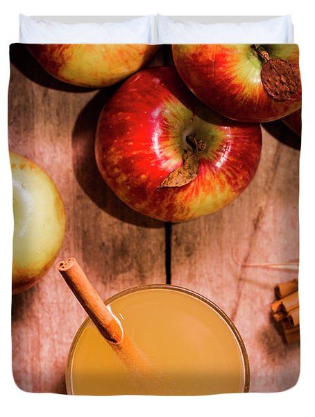 Fresh Apple Cider With Cinnamon Sticks And Apples Duvet Cover
