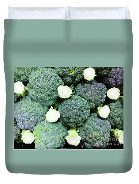 Fresh Broccoli Background Duvet Cover