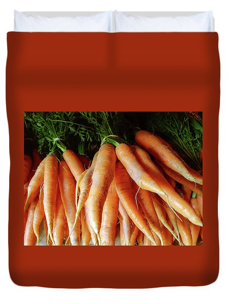 Fresh Carrots From The Summer Garden Duvet Cover by GoodMood Art