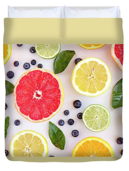 Fresh Citrus Fruits Duvet Cover