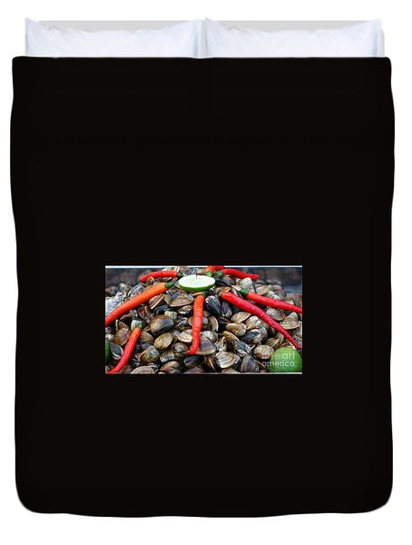 Duvet Cover featuring the photograph Fresh Clams With Chilies And Limes by Yali Shi