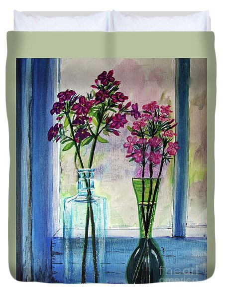 Duvet Cover featuring the painting Fresh Cut Flowers In The Window by Patricia L Davidson
