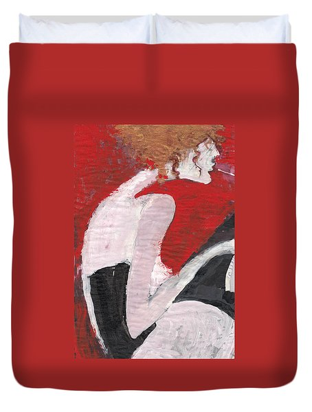 Duvet Cover featuring the painting Fresh Flesh by Maya Manolova