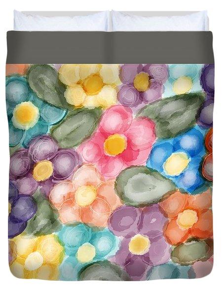 Fresh Flowers Duvet Cover by Paula Brown
