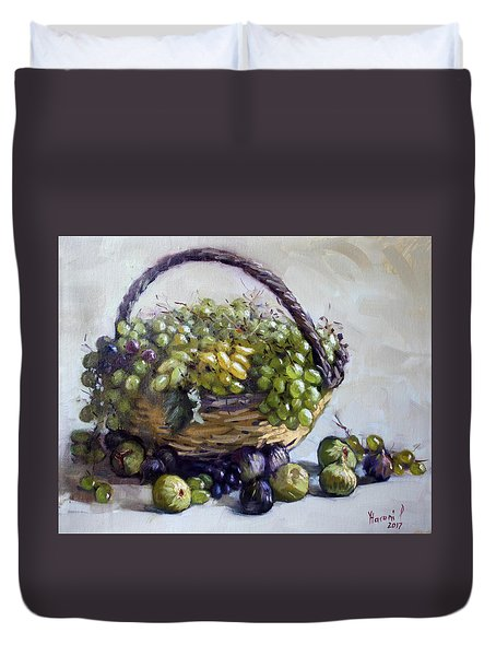 Fresh Grapes And Figs From Lida's Garden Duvet Cover