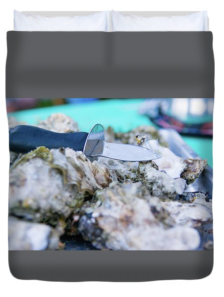 Duvet Cover featuring the photograph Fresh Oysters by Erin Kohlenberg