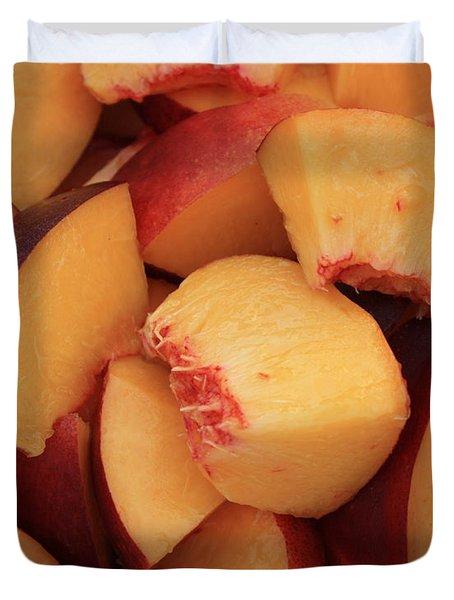 Fresh Peaches Duvet Cover by Carol Groenen