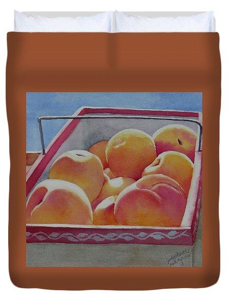 Fresh Peaches Duvet Cover by Judy Mercer