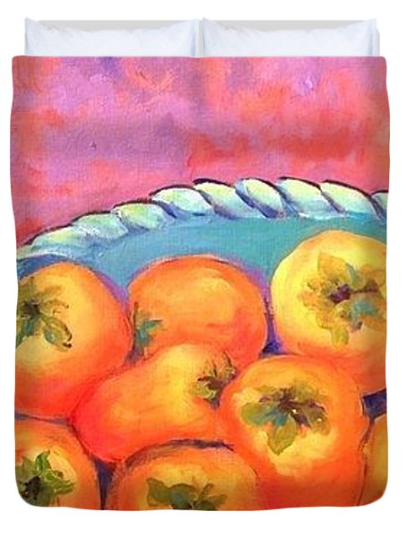 Fresh Persimmons Duvet Cover