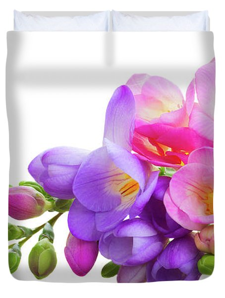 Fresh Pink And Violet Freesia Flowers Duvet Cover