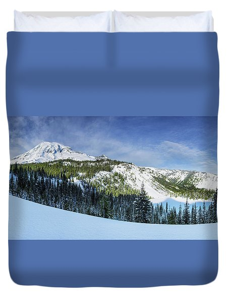 Duvet Cover featuring the photograph Fresh Snow At Mount Rainier by Dan Mihai