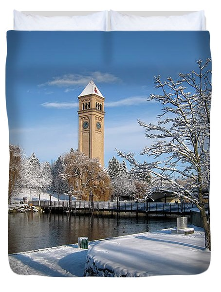 Fresh Snow In Riverfront Park - Spokane Washington Duvet Cover by Daniel Hagerman