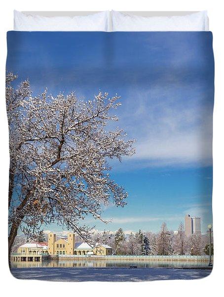 Fresh Spring Snow - City Park, Denver, Colorado Duvet Cover