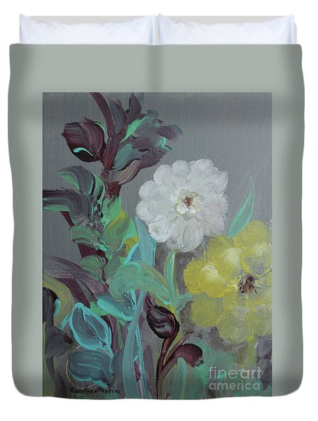 Duvet Cover featuring the painting Fresh Start  by Robin Maria Pedrero