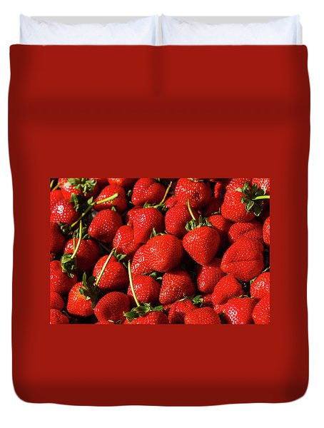 Fresh Strawberries Duvet Cover