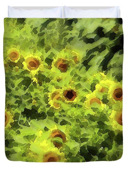 Fresh Sunflowers Duvet Cover by Methune Hively