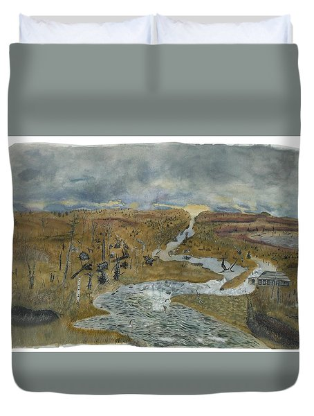 Freshet From A Ghost-marsh Duvet Cover