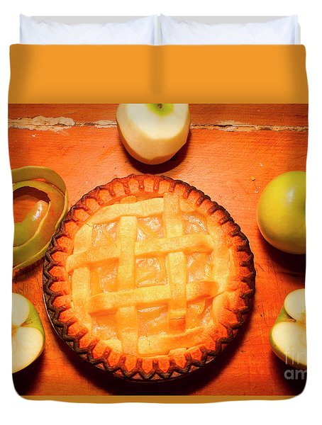 Freshly Baked Pie Surrounded By Apples On Table Duvet Cover