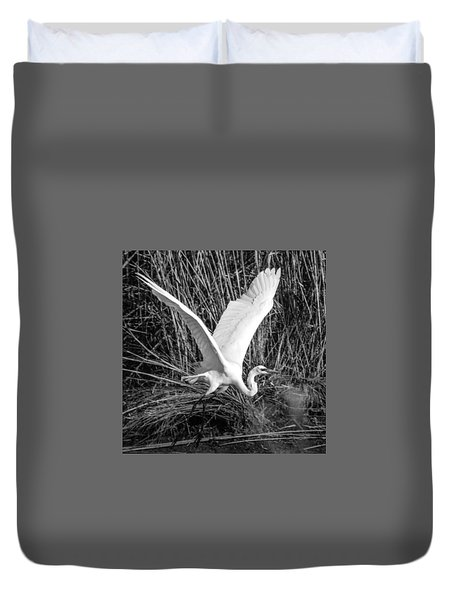Freshwater City Egret Duvet Cover