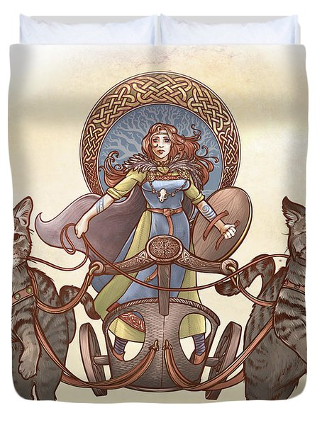 Freya And Her Cat Chariot-garbed Version Duvet Cover