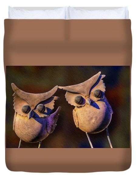 Duvet Cover featuring the photograph Frick And Frack by Paul Wear
