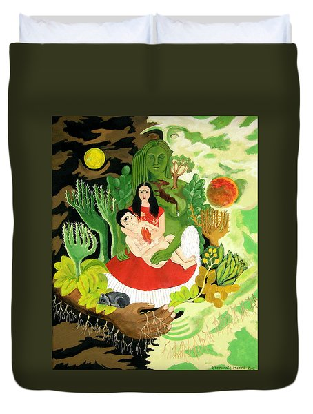 Frida And Diego Duvet Cover by Stephanie Moore