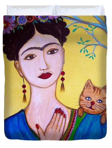 Duvet Cover featuring the painting Frida And Her Cat by Pristine Cartera Turkus