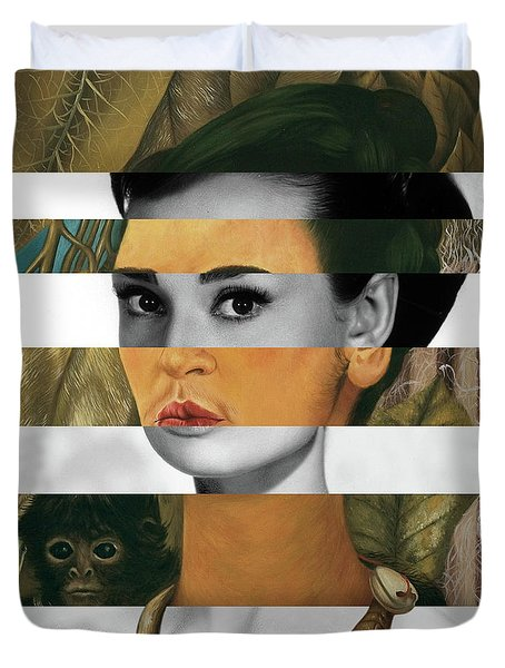 Frida Kahlo's Self Portrait With Monkey And Audrey Hepburn Duvet Cover by Luigi Tarini