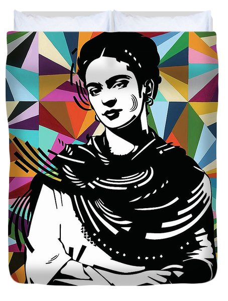 Duvet Cover featuring the painting Frida Stay True by Carla Bank