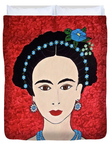 Frida With Blue Flowers Duvet Cover by Stephanie Moore