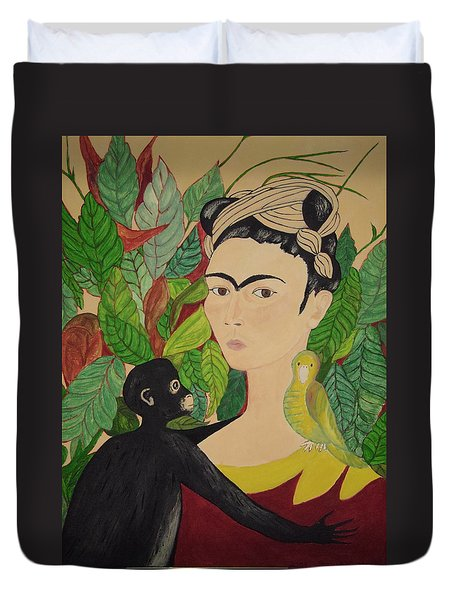 Frida With Monkey And Bird Duvet Cover by Stephanie Moore