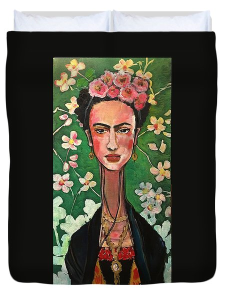 Duvet Cover featuring the painting Frida You Are My Vogue by Laurie Maves ART
