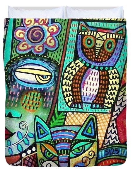-frida's Garden Owl And Cat Duvet Cover