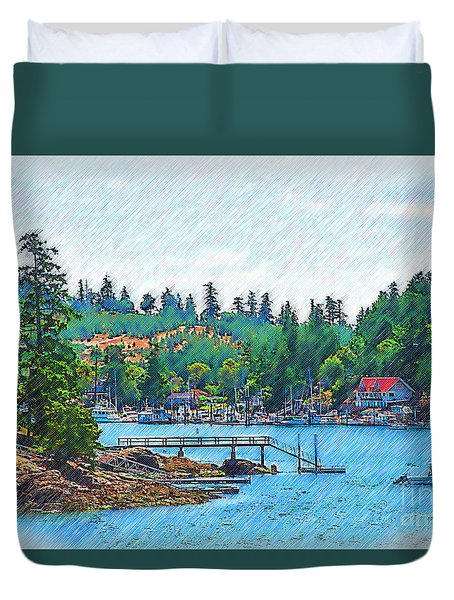 Duvet Cover featuring the digital art Friday Harbor Sketched by Kirt Tisdale
