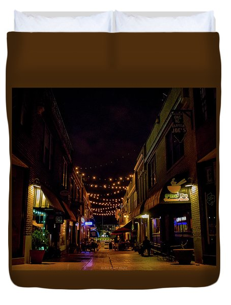 Friday Night Alley Duvet Cover