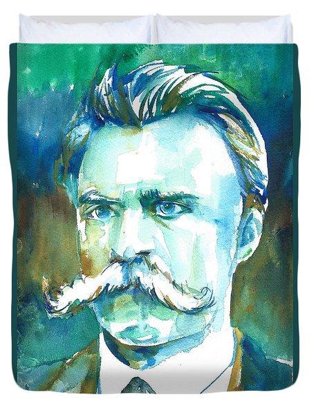 Friedrich Nietzsche Watercolor Portrait.1 Duvet Cover
